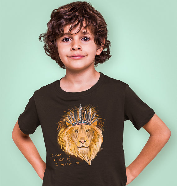 Boho Lion- Kids Youth Crew T-Shirt (lots of colours)