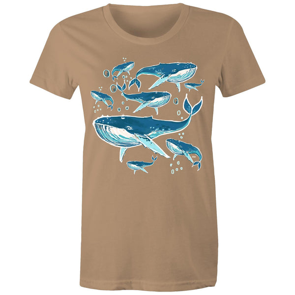 Blow Bubbles Whale Women's Maple Tee