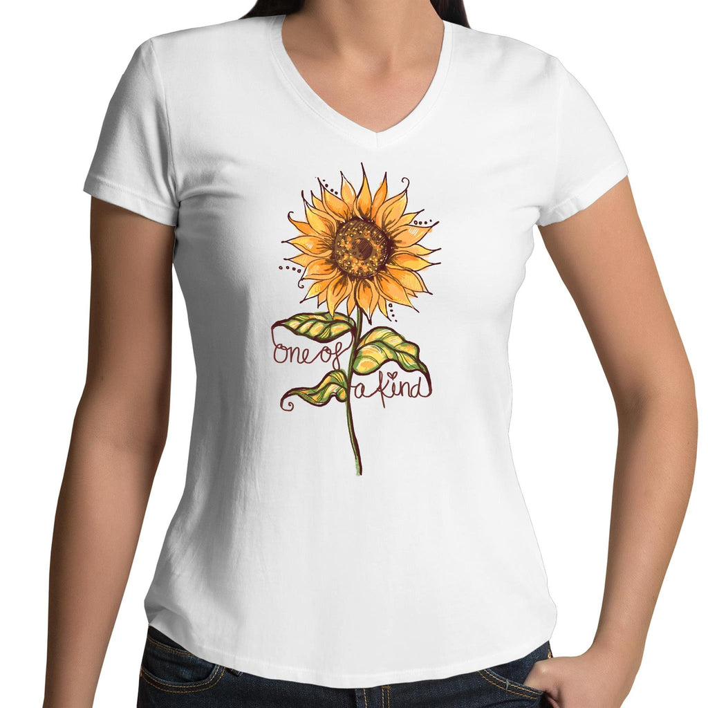 One of a Kind (Sunflower)- Womens V-Neck T-Shirt