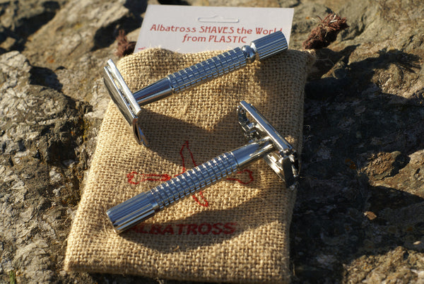 3 Piece and Butterfly double-edged safety razor  Albatross SHAVES the World from Plastic