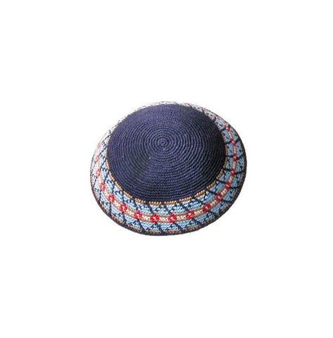 Crocheted Blue/Red Kippah