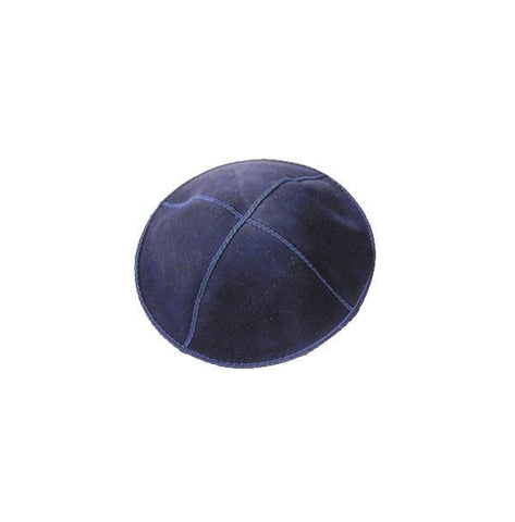 Plain Dark Blue Suede Kippah