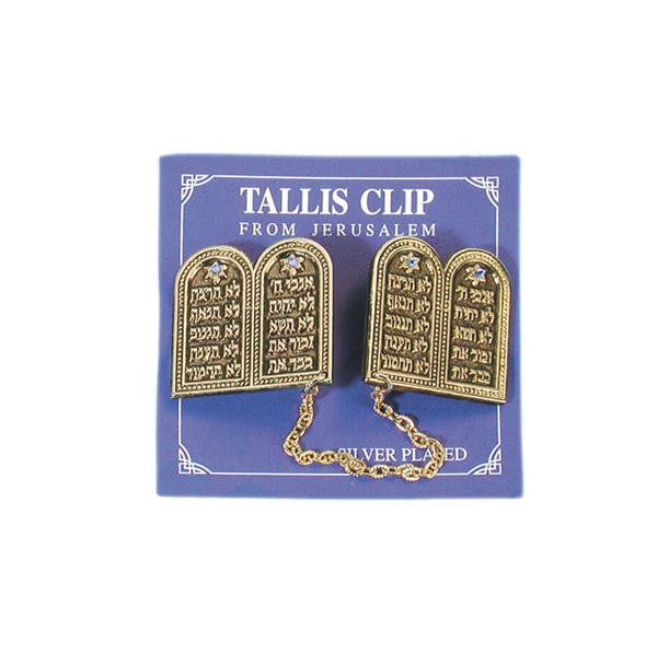 Tallit Clip - Ten Commandments - Brass