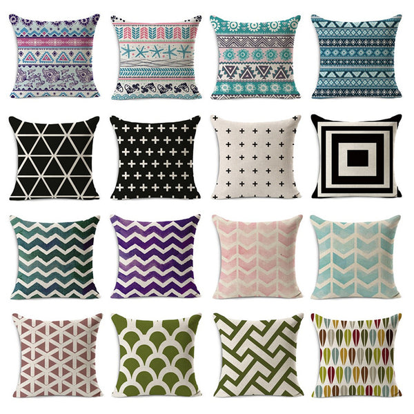 Colorful Geometric Printed Pillow Covers