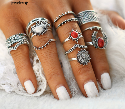 14pc Vintage Moon Sun Midi Ring Set