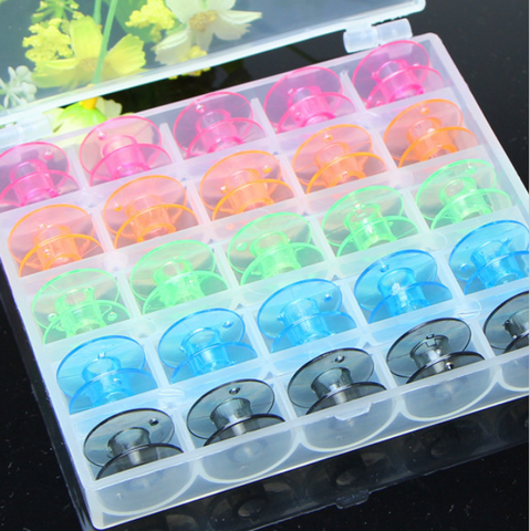25pc Empty Sewing Machine Bobbins Spool Plastic Case Needlework Tool For Brother Janome Singer Elna