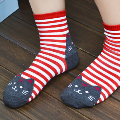 3D Striped Cotton Cat Socks