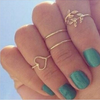 4pc Gold Silver Crystal Love Heart Ring Set