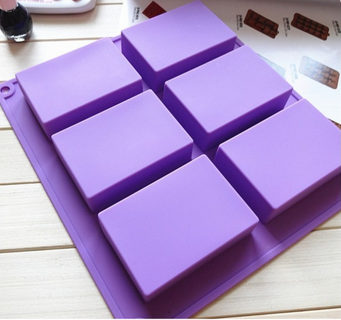 6 Cavities 3D Handmade Rectangle Square Silicone Soap Mold