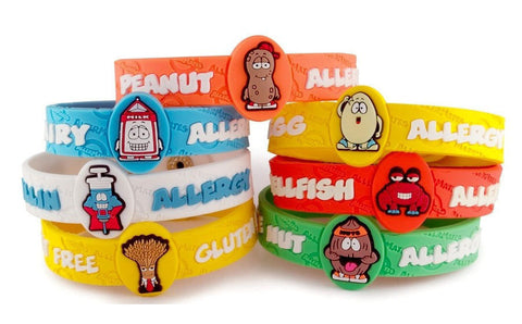 AllerMates Multi Charm Wristband plus Six Allergy Charms