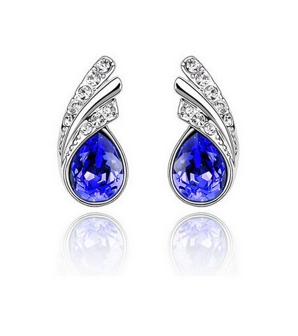 Austria Crystal Leaf Stud Earrings