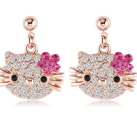 Austrian Crystal Hello Kitty Rose Gold Plated Stud Earring