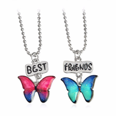 Best Friends 2pc Butterfly Pendant Necklace