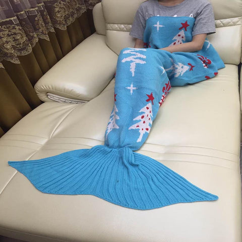 Blue Christmas Crochet Mermaid Blanket