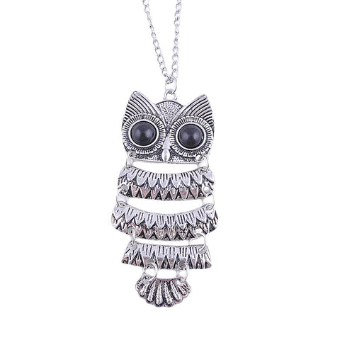 Cute Owl Necklace With Big Eye Pendant Vintage Necklace