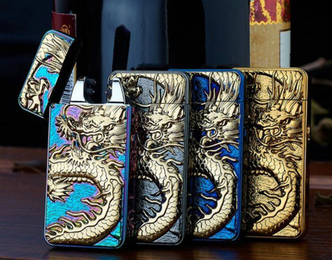 Dragon Embossed Double Arc Lighter USB Charging