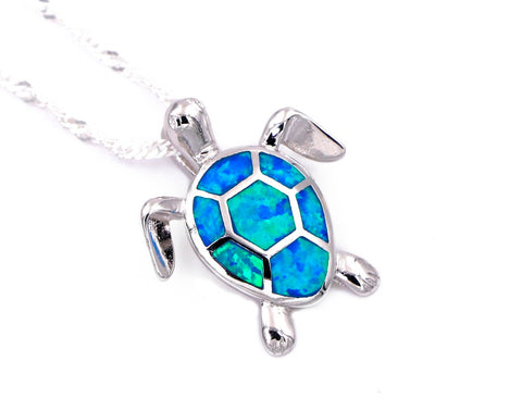 Fire Opal Sea Turtle Necklace