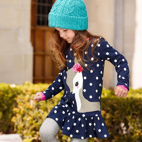 Girls Long Sleeve Deer Cotton Dress