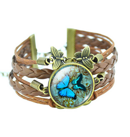 Glass Cabochon Butterfly Bangle