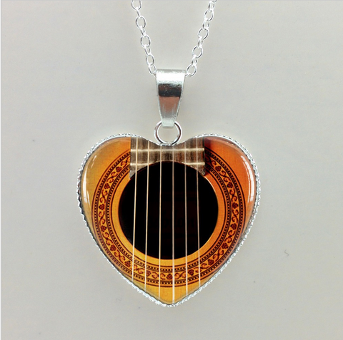 Glass Cabochon Musician Necklace