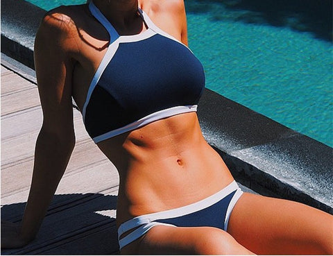 Halter Top Navy Blue Swimsuit