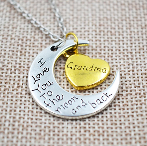 I Love You To The Moon And Back Grandma Vintage Pendant Necklace