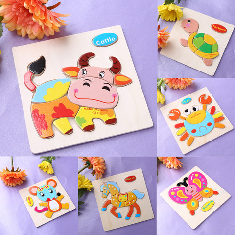 Kids Educational Cartoon Animals Dimensional Puzzle