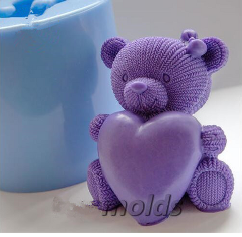 Knitted Teddy Heart 3D Silicone Mold for Soap and Candles Making
