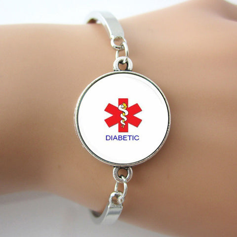 Medical Alert Diabetic Glass Tile Bracelet