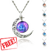 Glass Galaxy Moon Statement Necklace