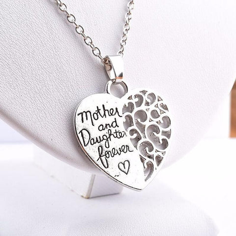 Mother and Daughter Forever Silver Pendant Necklace