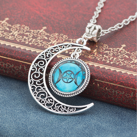 Triple moon goddess wiccan necklace love a sale triple moon goddess wiccan necklace aloadofball Choice Image