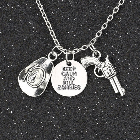 Keep Calm And Kill Zombies Hat Pistol Gun Necklace