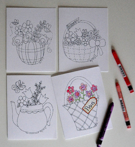 Note Cards to Color - Baskets & Blooms