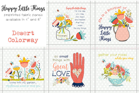 "Happy Little Things Quilt 4"" Preprinted Quotes Blocks"