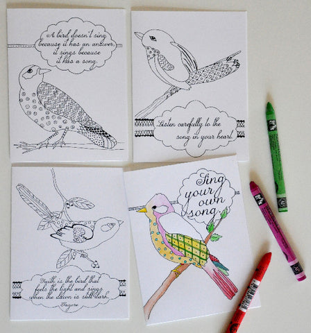 Note Cards to Color - Inspirational Birds