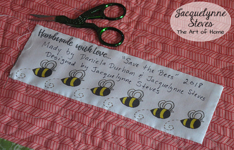 Save the Bees Quilt Labels