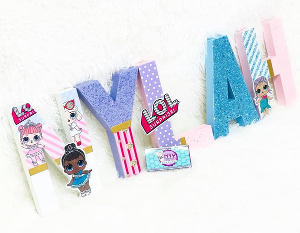 Surprise Babes Themed Birthday Letters - 8 Inch - Itty Bits Designs