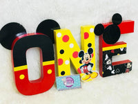 Red/Blk/Yellow Mouse Themed Birthday Letters - 8 Inch - Itty Bits Designs