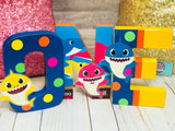 Shark Baby Themed Birthday Letters - 8 Inch - Itty Bits Designs