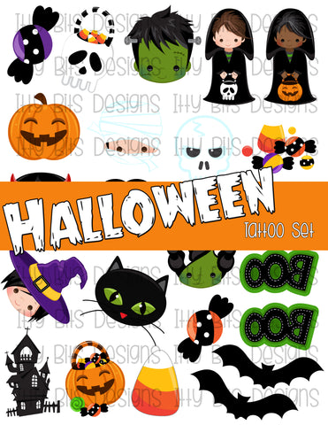 Halloween Theme Tattoo Grab Bag - Halloween Party Favor - Itty Bits Designs