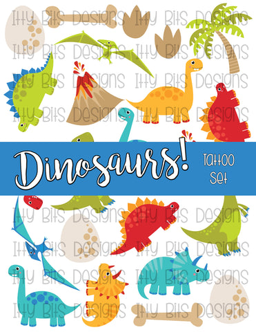 Dinosaur Temporary Tattoo Grab Bag - Itty Bits Designs