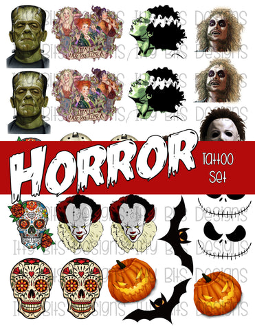 Horror Theme Tattoo Grab Bag - Halloween Party Favor - Itty Bits Designs