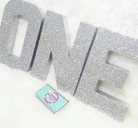 Silver Glitter ONE Letters - Itty Bits Designs