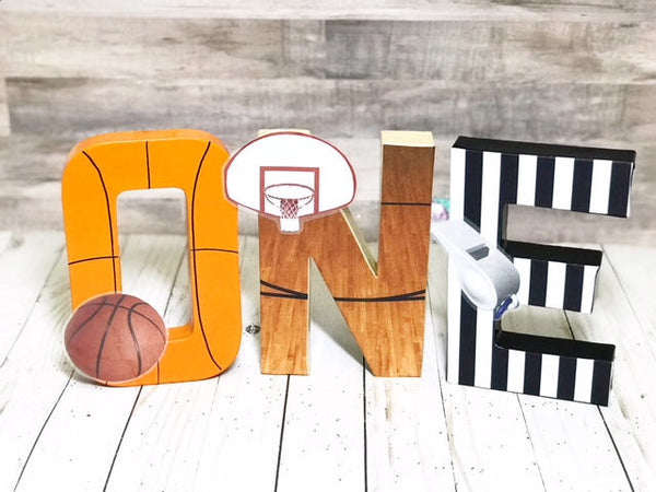 Basketball First Birthday Letters - Itty Bits Designs