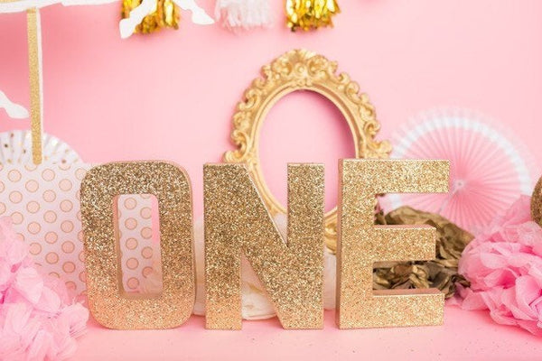 Gold Glitter First Birthday Letters - Itty Bits Designs