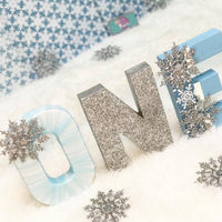 Winter ONEderland Birthday Letters - Blue & Silver - Itty Bits Designs