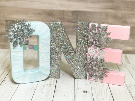 Winter ONEderland Birthday Letters - Pink & Blue - Itty Bits Designs