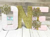Winter ONEderland Birthday Letters - Pink & Gold - Itty Bits Designs