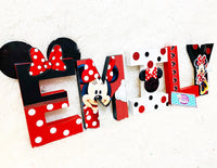 Red Polka Dot Mouse Themed Birthday Letters - 8 Inch - Itty Bits Designs
